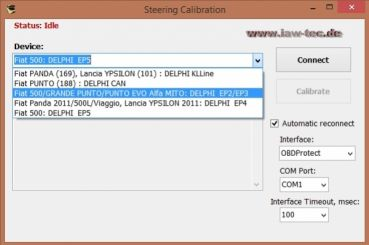 Steering Calibration - Software zum kalibrieren von Fiat, Lancia und Alfa Romeo Lenkeinheiten + optional Leih-Interface